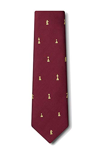 Men's Microfiber Checkmate Chess Game Pieces XL Extra Long Tie Necktie (Burgundy)