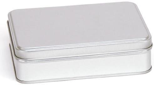Grande plateado rectangular paso tapa caja de lata 142 * 102 * 40 mm Metal Top lata contenedores joyas caja para té tanque de almacenamiento Crafts Metal clave caja de almacenamiento Kit: Amazon.es: Hogar