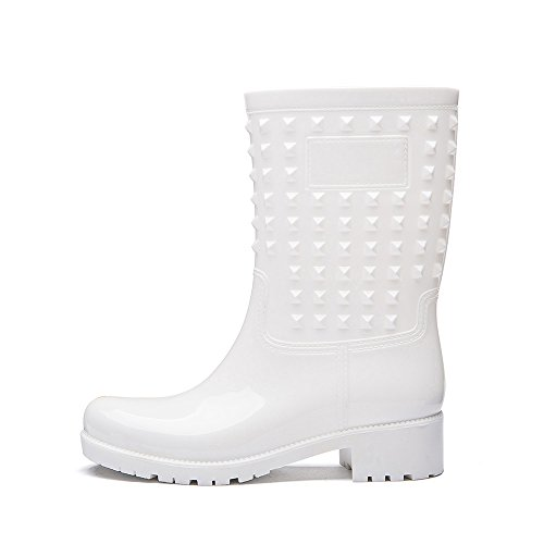 Women Ankle with Shoes Rain Waterproof Rivet White Rubber Cavave PVC Boot FAfxSqSw