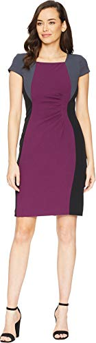 (Tahari ASL Women's Cap Sleeve Color Blocked Dress Side Ruching Rasin/Black/Pewter 2)