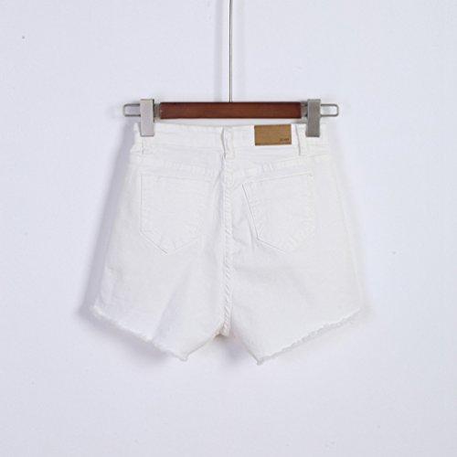 Casual Jeans Moda Vita Pantaloncini A Slim Donna Shorts Donne Alta Denim Bianco Retrò Estivi Da In Lihaer xvw71tqAYn