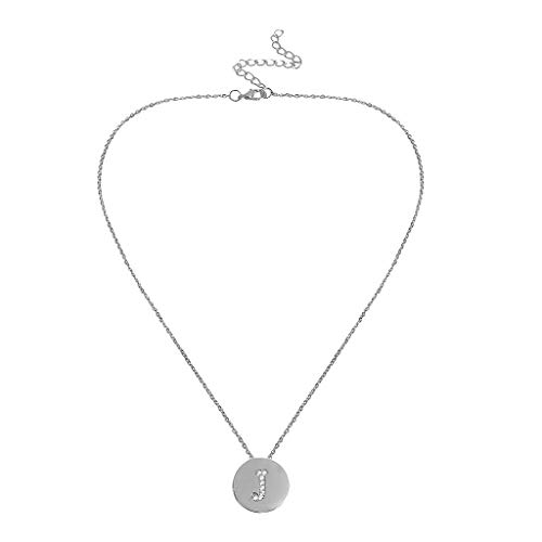 Initial Letter Pendant Necklace,Crytech Dainty Fashion Stackable Cubic Zircon Rhinestones Inlay A-Z Coin Charm Clavicle Chain Necklace for Women Ladies Mother's Day Birthday Chirismas Gifts (J)