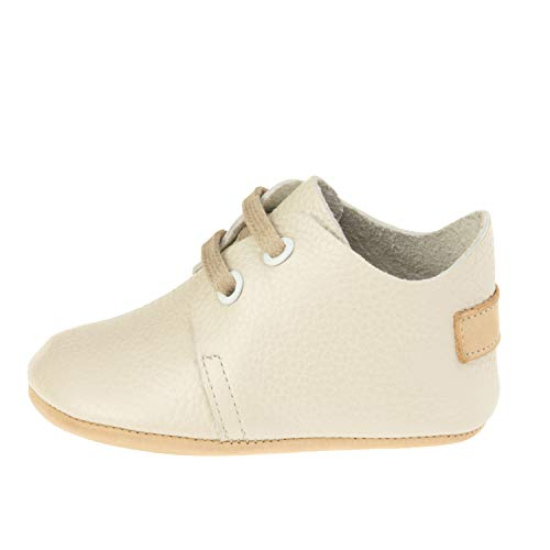 Ella Bonna Baby Mini Oxford Shoes | Flexible | Cow Hide Full Grain Leather | Leather Sole | Designer Moccasins | Handmade Shoes | for Baby Boys Girls Toddlers (US 5.5 M, Beige) ()