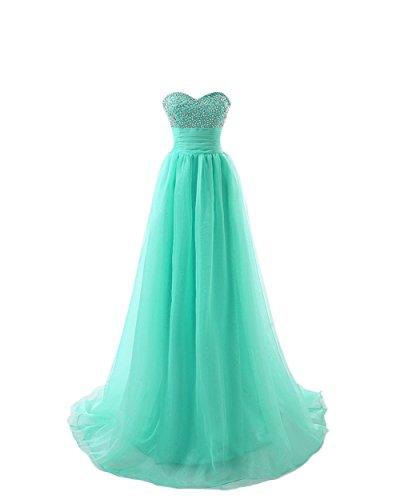 Engerla mujer de tul novia no-sleeve Empire para cuentas y conectado a la parte superior de lentejuelas para vestidos de novia Prom Vestido verde menta