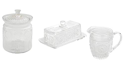 The Pioneer Woman Adeline 3-Piece Clear Embossed Butter Dish & Creamer Set bundle with The Pioneer Woman Clear Glass Cookie Jar ()