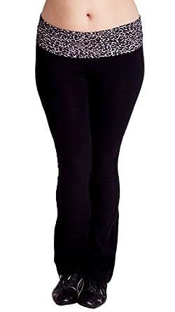 Brown Black Woman Plus Size Fold-Over Waist Cotton Yoga Pants