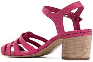 Sandales à talon moyen en cuir de chameau de couleur fuchsia de Del Carlo.