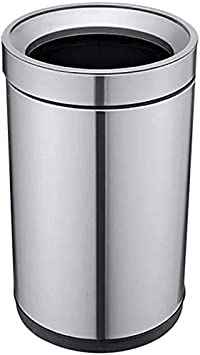 Size:8L,Color:A Waste Bin Trash Can,Stainless Steel No Lid Open Top with Hoop Paper Basket Garbage Bin Rubbish Bedroom Living Room Kitchen Office Hotel
