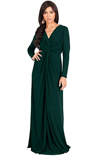 KOH KOH Womens Plus Size Womens Long Sleeve Sleeves V-Neck Flowy Cocktail Formal Fall Winter Evening Abaya Muslim Gown Gowns Maxi Dress Dresses, Emerald Green L 12-14