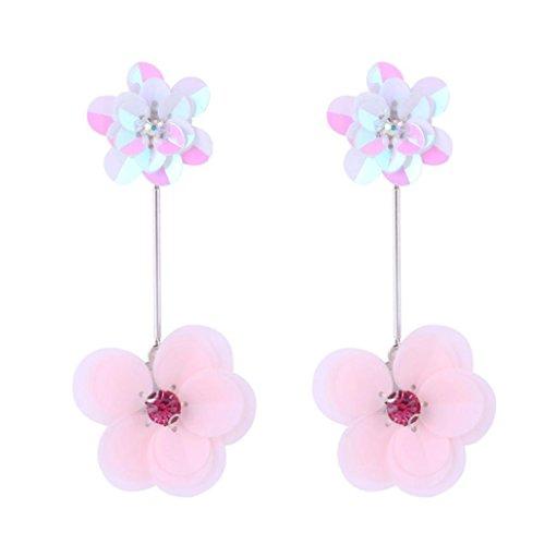 - Botrong Earring, Steel Gold Women Girl Earrings Fashion Jewelry 1Set Stud Earring (Pink)