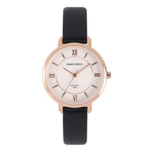 Womens Fashion Watch,Ladies Elegant Waterproof Quartz Rose Gold Case Roman Numeral Casual Wrist Watches with Soft Genuine Leather Band (Black)