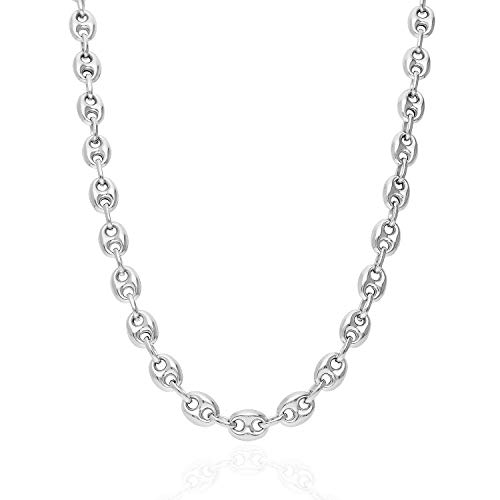 - Italy 925 Sterling Silver 8mm Puffed Anchor Mariner Link Chain Necklace 20