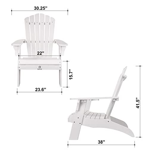 Fashion Poly Lumber Chair for Garden and Lawn QOMOTOP Modern Patio Adirondack Chair 38L 30.25W 41.5H White