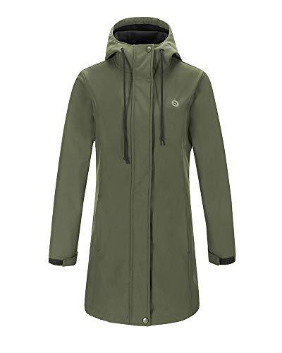 - Outdoor Ventures Women's Veda Lightweight Waterproof Windproof Fleece Lined Hooded Long Softshell Jacket Olive Green