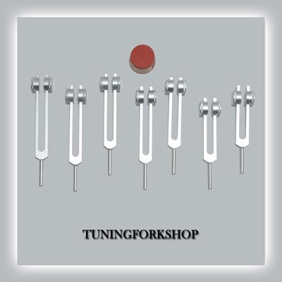 7 Pc Chakra Weighted Tuning fork for Healing with Activator+Pouch by Tuningforkshop (Image #1)