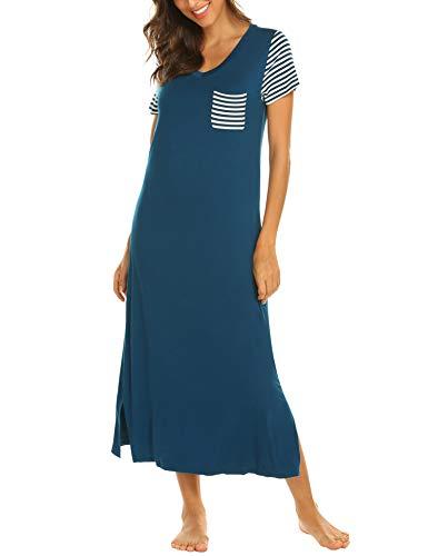 Hotouch Womens Nightgown Short Sleeve Sleep Shirts Long Modal Pajamas Nightshirt Peacock Blue s