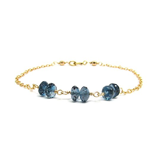 - JP_BEADS London Blue Topaz Bracelet, December Birthstone Bracelet, Gold FilledFilled Filled Blue Gemstone Jewelry, Genuine Blue Topaz Jewelry, Ocean Blue Bracelet 4 mm