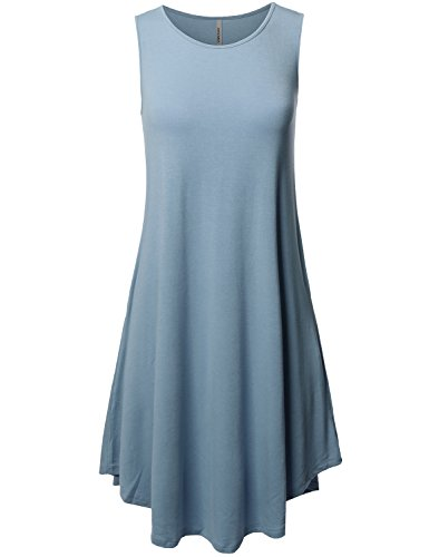 Awesome21 Solid Round Neck Sleeveless Dress with Side Pocket Titanium Size (Polyester Dress)
