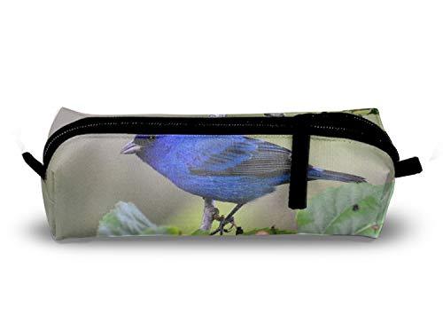 Indigo Bunting Bird - Animal Indigo Bunting Birds Blue Pencil Case Zipper Polyester Fiber Pen Pouch Bag for Women Girls Kids Teens