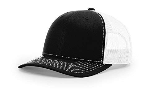 Richardson Black/White 112 Mesh Back Trucker Cap Snapback Hat w/THP No Sweat Headliner ()