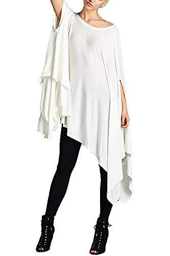 Vivicastle Women's Loose Bat Wing Dolman Poncho Tunic Dress Top (One Size, White)]()