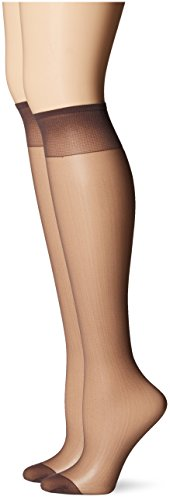 Hanes Silk Reflections Women's Knee High Reinforce Toe 2 Pack, Barely Black, One Size