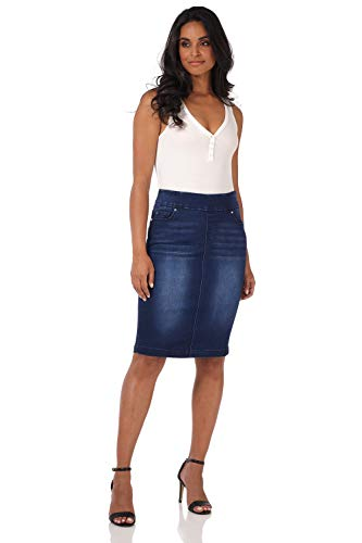 Rekucci Jeans Women's Ease into Comfort Pull-On Stretch Denim Skirt (6,Ink Blue Sandblast)