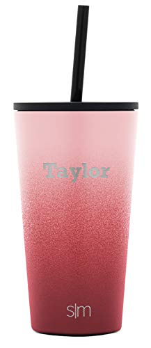 Simple Modern Personalized Gift Tumbler Custom, Classic 16oz - Straw & Flip Lid, Ombre: Wildberry