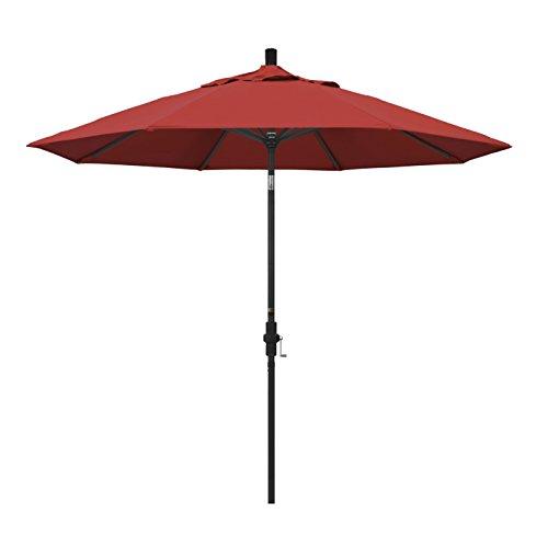 California Umbrella 9' Round Aluminum Market Umbrella, Crank Lift, Collar Tilt, Black Pole, Red Olefin