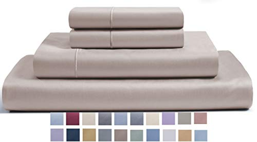 CHATEAU HOME COLLECTION 800-Thread-Count Egyptian Cotton Deep Pocket Sateen Weave King Sheet Set,Taupe