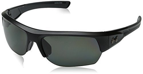 Polarized Lens Satin Black Frame - Under Armour Sunglasses Rectangular, UA Big Shot Storm (ANSI) Satin Black/Charcoal Frame/Gray Polarized Lens, 37 mm