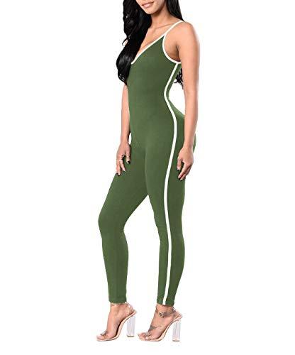 Glosun Womens Spaghetti Strap Bodycon V-Neck Tank Bodycon One Piece Romper Jumpsuit
