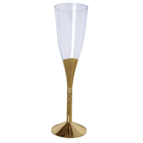 BalsaCircle 24 pcs 5 oz Gold Plastic Champagne Flutes - Disposable Tableware Wedding Party Event Home -
