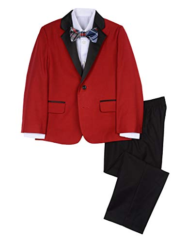 Red Suit For Kids (Nautica Boys' Little 4-Piece Formal Dresswear Suit Set with Bow Tie, Holiday red,)