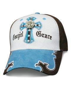 Turquoise Cowgirl Grace Baseball Cap with Cross Turquoise Stones and Bling Faux Suede with Cross Baseball Cap Ladies Womens Headwear Embroidered Accent Jewels, Rhinestones & Jewels ()