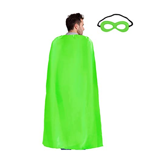 Superhero-Capes for Adults with Mask- Men Women Super Hero Dress Up Costume Party Favors (Lime Green) -