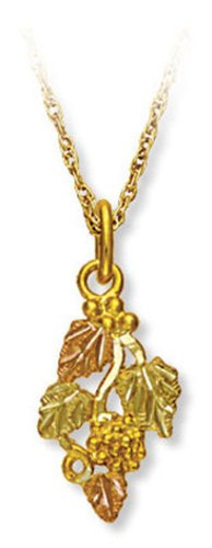 "Landstroms 10k Black Hills Gold Pendant Necklace with Leaves and Grape Clusters, 18"" - 03630"