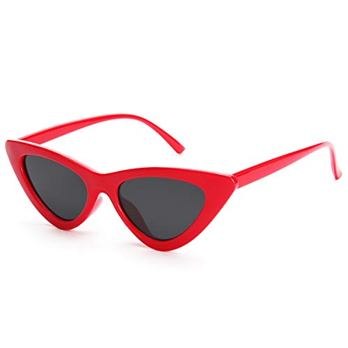Livhò Retro Vintage Narrow Cat Eye Sunglasses for Women Clout Goggles Plastic Frame]()