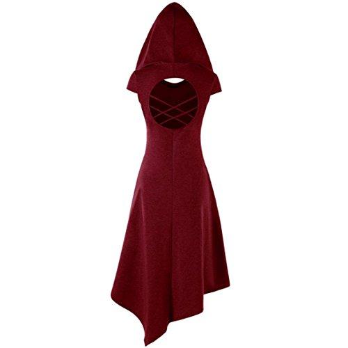Asymtrique Femme S Capuche Robe Manche Rouge Courte Longue Dress XL Robe Femme POachers Taille Mid Ete OvqaxEB5w5