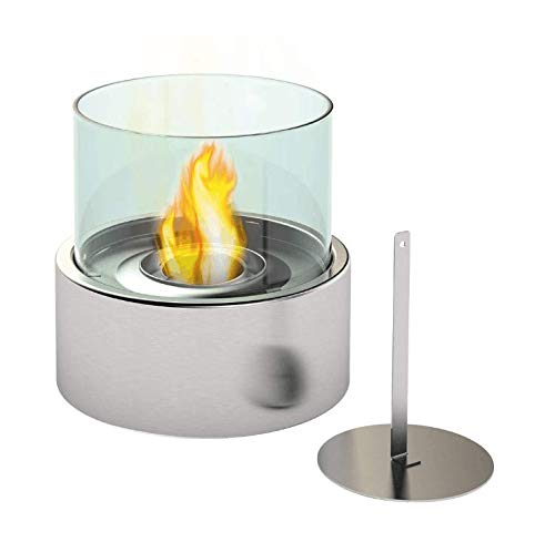 Fire Desire's Orbe Fireplace - Round Shape for Table Top, Stainless Steel Finish, Tempered Glass, Both Indoor and Outdoor Use, Great for Decoration, Cozy Atmosphere, German Design, Can Put Anywhere, Table Top, Easy to Assemble, Portable, Reusable Fireplace ()