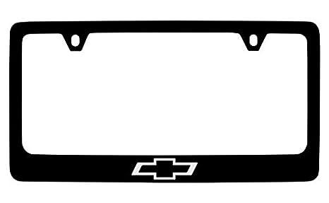 Amazon.com: Chevrolet Bowtie Black Metal license Plate Frame Holder ...
