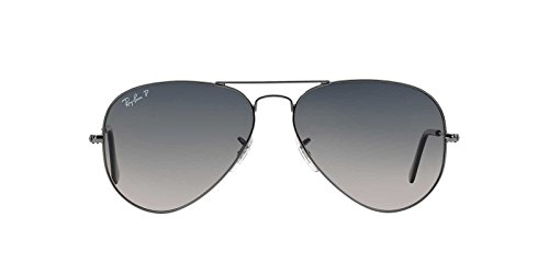 3ddfa87f1f6f7 Ray-Ban AVIATOR LARGE METAL - GUNMETAL Frame CRYSTAL POLAR BLUE GRAD.GREY  Lenses