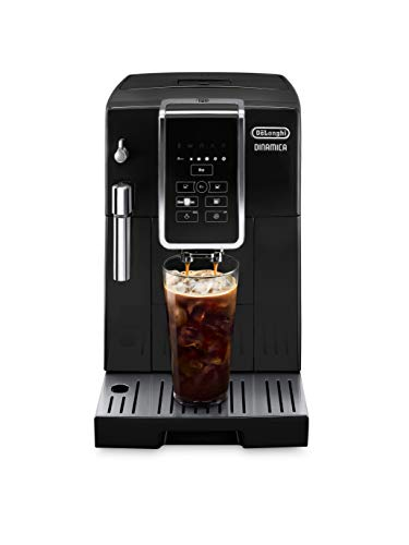 De'Longhi ECAM35020B Dinamica Automatic Coffee & Espresso Machine, TrueBrew Over Ice, Burr Grinder + Descaling Solution, Cleaning Brush & Icecube Tray (Coffee Bean Shaped), Black, Black