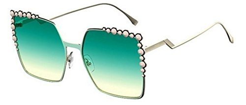 New Fendi FF 0259 S 1ED/EZ Can Eye Gold/Green Sunglasses