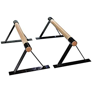 Well-Being-Matters 31zCITwVk4L._SS300_ Wood Parallettes Set for Gymnastics or Push up Bars. Black in 18 inch to 24 inch Length.