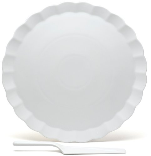 Red Vanilla Vanilla Fare 13-1/2-Inch Cake Plate with Server - Flat Cake Plate