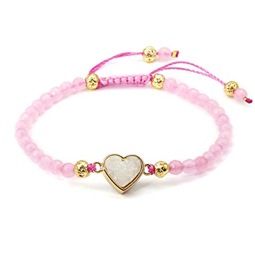 Top Plaza Womens Girls 4mm Rose Quartz Beads Chakra Healing Crystal Bracelet Gold Lava Rock Stone Adjustable Bracelets with Heart Shape Druzy Charm