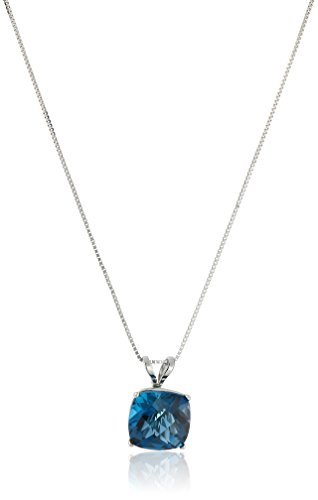 14k White Gold Cushion Checkerboard Cut  London Blue Topaz Pendant Necklace (8mm) ()
