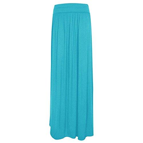 las mujeres janisramone doblan la cintura larga camiseta maxi falda Turquesa