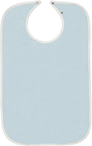 "Nobles 6 Terry Adult Bibs/Clothing Protector with Vinyl Barrier Size 18"" x 30"" Adjustable Snap Closure - by Nobles Health Care Product Solutions (Light Blue with Blue Backing)"